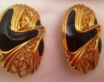 5 DOLLAR SALE: Black Enamel on Gold Metal Clip On Earrings