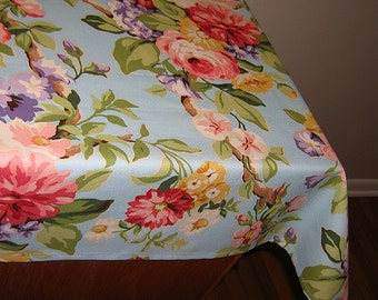 Designer Tablecloths by GreenSage® - Robins Egg Blue Background Floral Design
