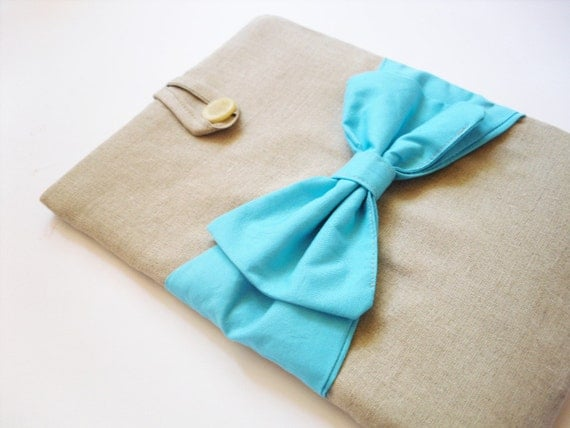 MacBook Air cover 11 / 13 inches , MacBook Air case / sleeve , Canvas, Turquoise bow