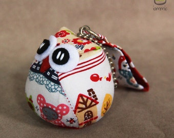Matryoshka Owl: Russian doll, cute, owl doll with a Bag, owl plush, owl decor, kid, flower, white, poka dot, red, owl decoration, kawaii