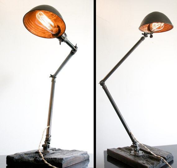 Ajusco Machinist or Task  Lamp circa 1930s with bowl shaped shade