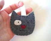 London Humane Society Grey Kitten hand-sewn felt keychain