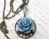 Blue Necklace, Christmas Gift, Blue Rose, Delicate Jewelry, Antique Bronze Pendant, Clear Fire Polished Crystals