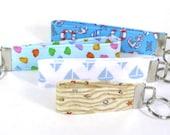 Nautical Key Chain Wristlet, Seashells, Anchor, Life Preserver, Sailboat