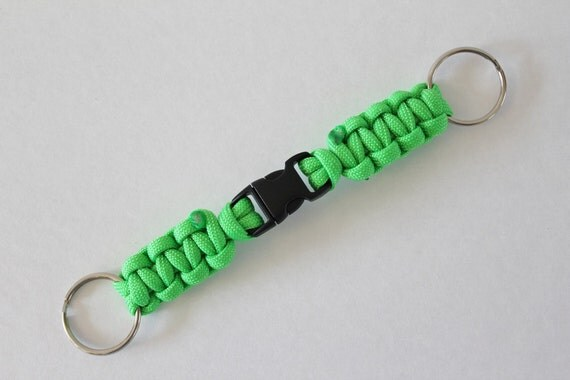 "Neon Green Paracord Key Chain  6 1/4"""