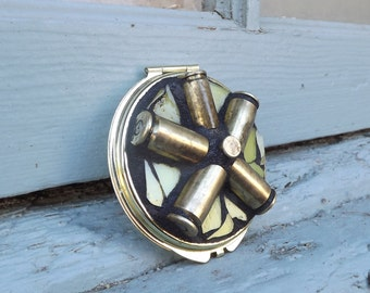 Mosaic Gun Shell Casing Make Up Compact, Double Sided Mirror, Purse Mirror, Round Mirror, Personal Mirror