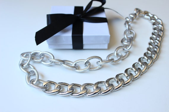 Silver Chunky Curb with Textured Chain Necklace