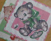 """Childrens handkerchiefs with bear cub and squirrel. """"Beauty and the beast"""". Vintage. Free shipping"""