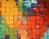 XL Original Mosaic painting by Caroline Ashwood - Huge Fine art contemporary abstract on canvas - Ready to hang