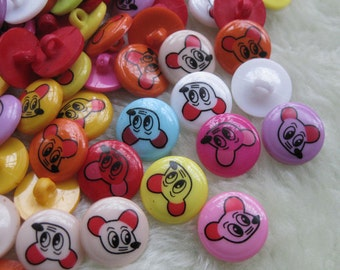 100 Micky Plastic Buttons appliques/Sewing mix F309