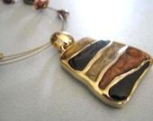 Shades of Amber Goldtone Necklace - Vintage KC Goldtone Necklace - Statement Necklace
