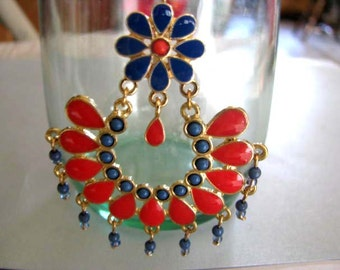 Statement Earrings - Southwest Look Vintage Clipon Earrings - Salmon Red and Blue Earrings