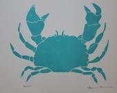 Turquoise Crab Block Print, Unframed