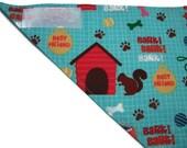 Dog Bandana - Light Blue with Dog Prints - Velcro