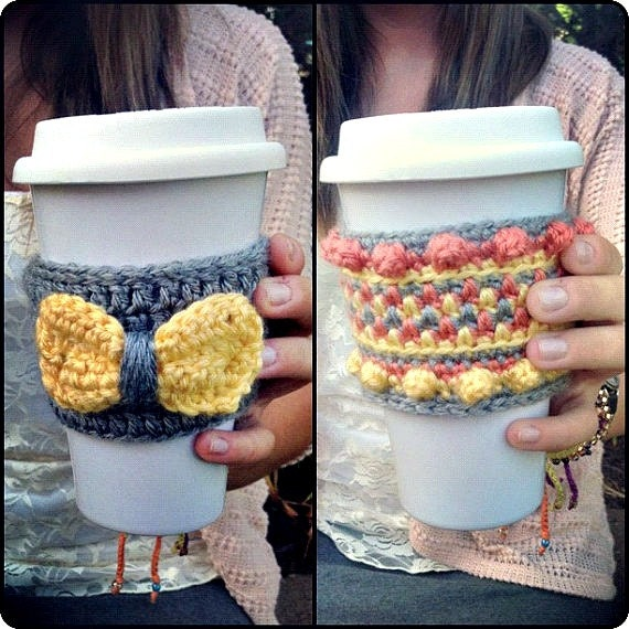 Crochet Coffee Cozy Sleeve -- Set of Two in Yellow & Coral