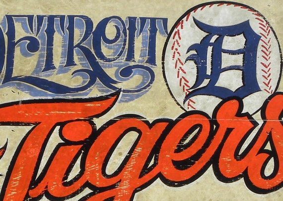 detroit tigers baseball sign wooden original hand lettered faux vintage sign