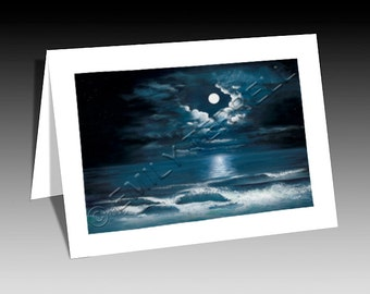 Moon Waves Note Card