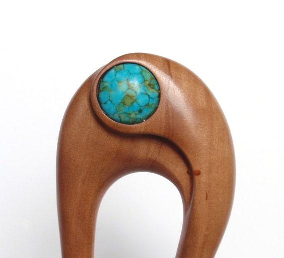 Wooden hair fork, 2 prong, Hair sticks, Wood, Pear tree, Mosaic Turqouise, Hairpin, Handmade
