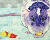Purple Rat Painting Candy Corn Painting Watercolor Rat Memorial Watercolor Painting Animal Watercolours Pop Art Painting Custom pet Portrait