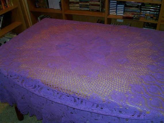 Purple Pinwheel and Pineapple Tablecloth