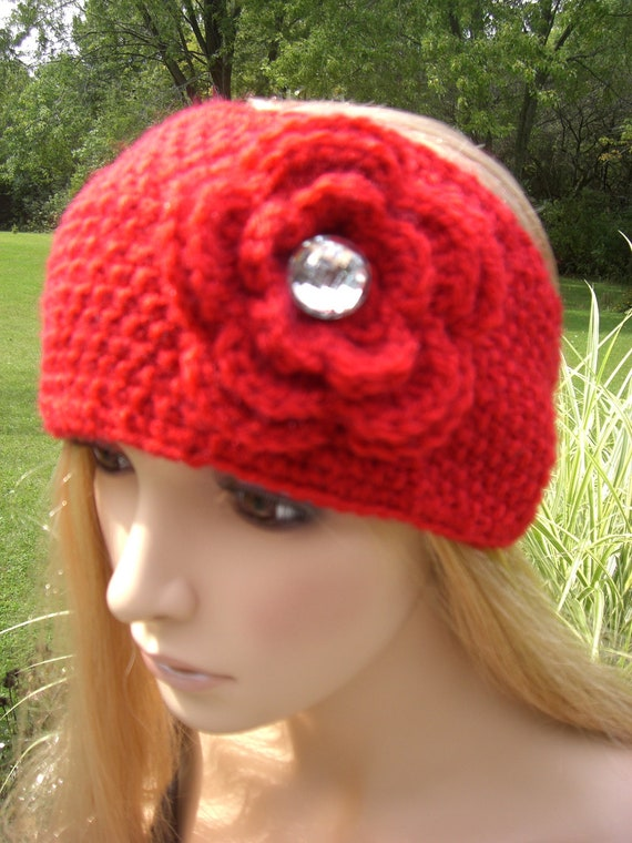 Red Knit Head wrap/earwarmer with crochet flower and sparkle button