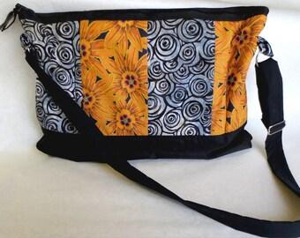 Large Messenger Bag Padded Pockets Adjustable Strap, Orange and Black