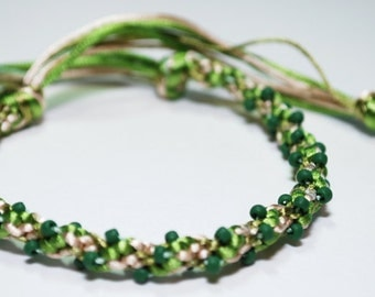 Kumihimo Bracelet Beaded Satin Cord Forest Green Earth Tone Jewelry