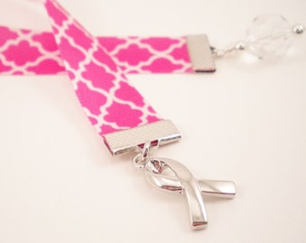 Pink Ribbon Bookmark with Silver Awareness Ribbon Charm, October, Breast Cancer Awareness, Gifts under 10