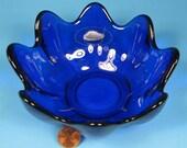 Blenko Cobalt Blue Art Glass Clover Bowl Scalloped Original Sticker Tag Husted Design