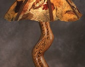 """Carved Zebra Wood Table Lamp (new series). The """"Original Leaf Shade"""" Reserved for Maria"""