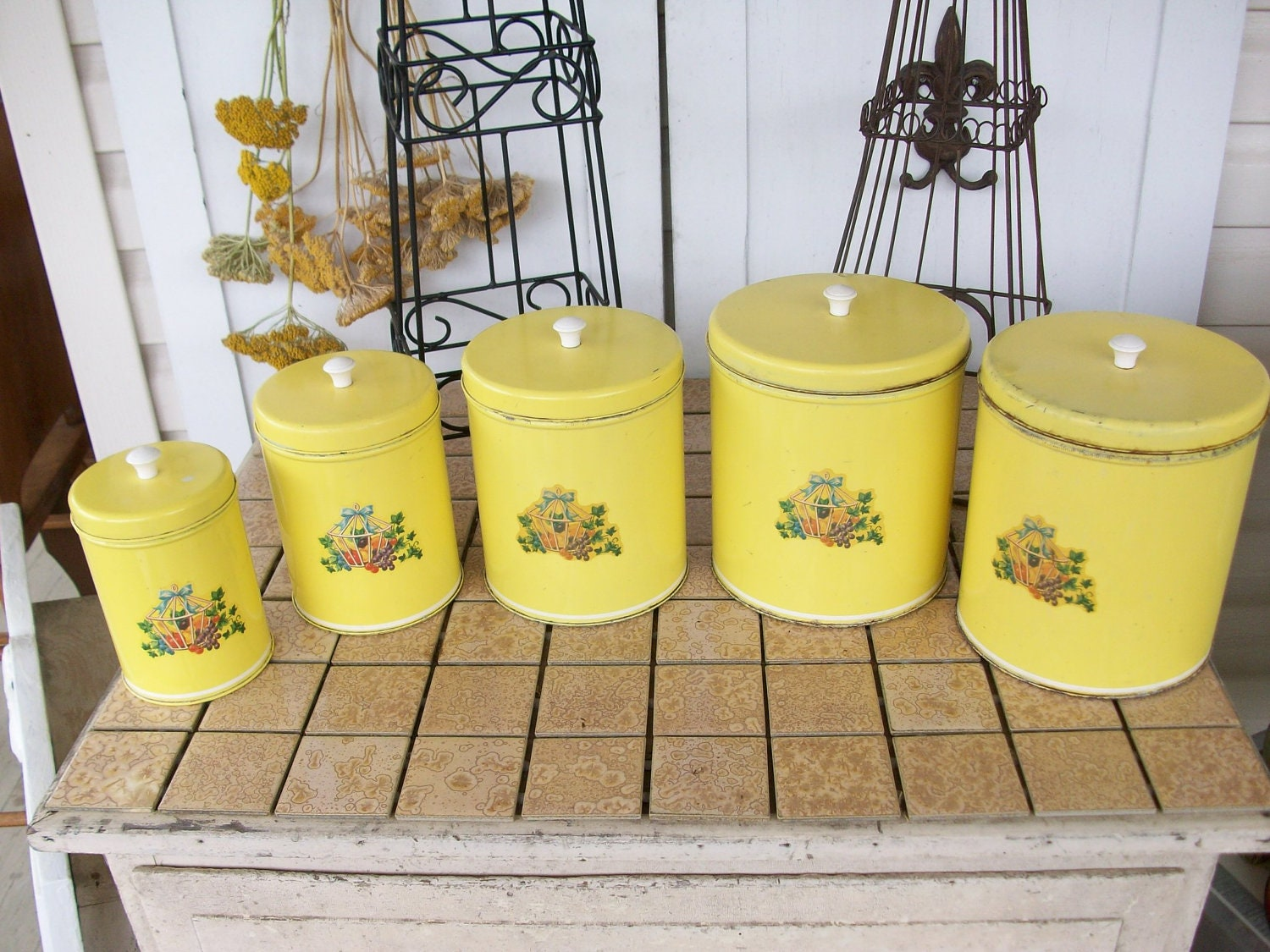 Vintage ten piece yellow canister set with kitchen decals and for Kitchen set yellow