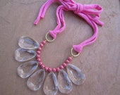Pink Statement Bib Necklace with Jersey Tie and Golden Pink Crackle Beads