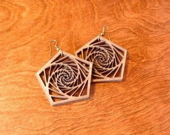 Pentagon Filigree Woodcut earrings