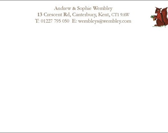 50 Personalized correspondence cards with envelopes 'Squirrel'