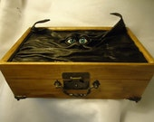 Jewelry Storage Organizer Desk Treasure Chest Leather Black Wood