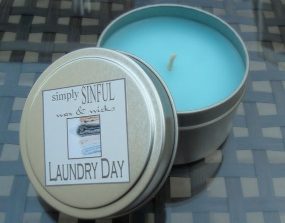 Laundry Day  scented candle  6oz. travel tin