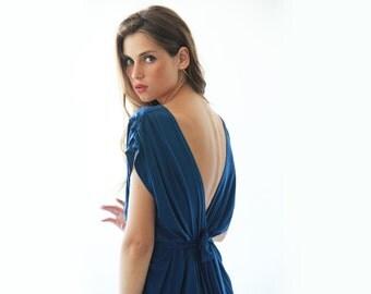 Blue maxi bridesmaids dress, Maxi blue backless gown 1008.