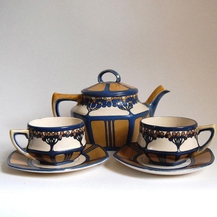 rare mettlach tea set art nouveau home decor tableware antique. Black Bedroom Furniture Sets. Home Design Ideas