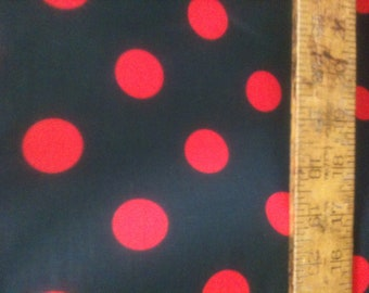 """Poly Cotton Large Red Polka Dot Print on Black Background Fabric 60"""" Fabric by the Yard - 1 Yard"""