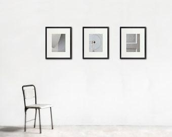 Minimalist White Photographs, Large Wall Art, Simple, Quiet, Yoga Meditation, Set of Three