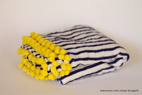 Beach Blanket. Dark purple & white stripes w/ yellow pom poms, cotton blend, fast drying
