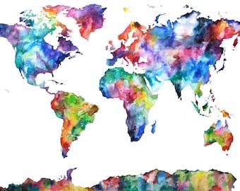 16x24 Watercolor Map Print, Original Painting, Watercolor World Map