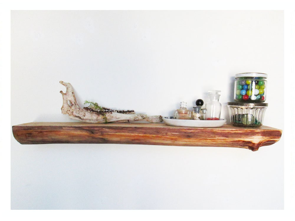 Items Similar To Wooden Log Shelf Floating Rustic Wood