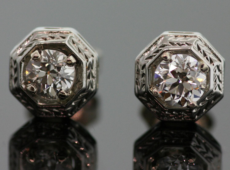 antique diamond stud earrings 14k white gold. Black Bedroom Furniture Sets. Home Design Ideas