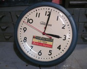 Large Working Telechron Model 1H912 Wall Clock with International Harvester Parts and Service Decal