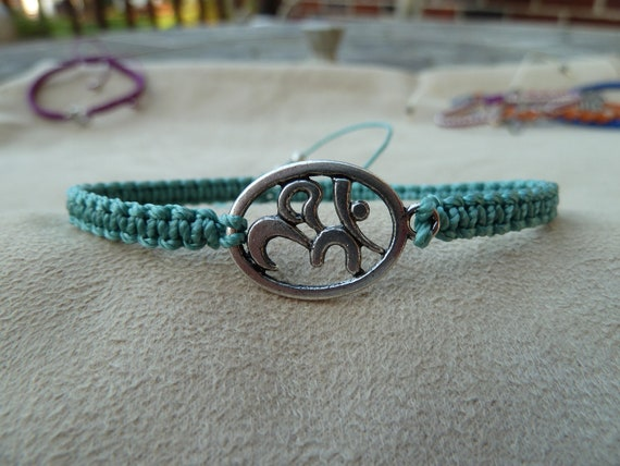 Light Aqua Macrame Bracelet with Ohm Symbol & Sliding Adjustable Closure