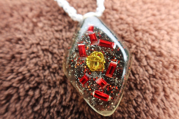 Red and Gold Fireworks in a Diamond Orgonite Charm Necklace