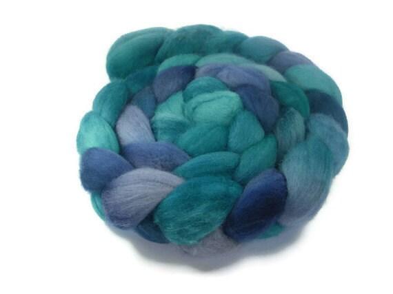 Merino Roving / Top, Turquoise Blues 3.5oz / 100gm