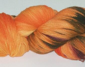 Hand Dyed Yarn Superwash Soft Sport Wool  Tangerine Orange Yellow Maroon Dark 2408a