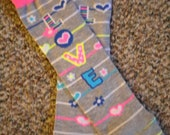 Leg Warmers  / Arm Warmers / Babylegs  - Love Logo - Grey with Pink, Yellow, Blue, and White Stripes, Hearts, and Flowers